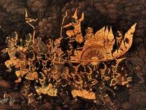Ramayana mural paintings of , alien battles gods and chimera on walls of kings palace Bangkok, Thailand Stock Photo