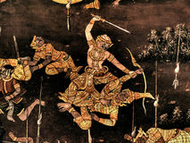 Ramayana mural paintings of , alien battles gods and chimera on walls of kings palace Bangkok, Thailand Royalty Free Stock Photos