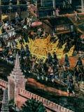 Ramayana mural paintings of , alien battles gods and chimera on walls of kings palace Bangkok, Thailand.  Royalty Free Stock Image
