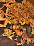 Ramayana mural paintings of , alien battles gods and chimera on walls of kings palace Bangkok, Thailand.  Stock Photos