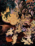 Ramayana mural paintings of , alien battles gods and chimera on walls of kings palace Bangkok, Thailand Royalty Free Stock Image