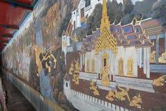 Ramayana murale di Wat Phra Kaew in Tailandia Fotografia Stock Libera da Diritti