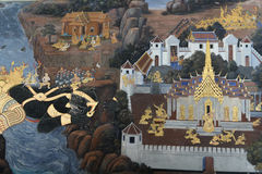 Ramayana murale di Wat Phra Kaew in Tailandia [2] Fotografia Stock