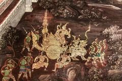Ramayana murals. The mural of Ramayana painting on the wall about literary epic Ramayana area Temple , Wat total 178 rooms built since the reign of the skyline stock image