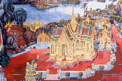 The ramayana painting in public temple in thailand Royalty Free Stock Image