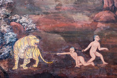 The ramayana painting in public temple in thailand Royalty Free Stock Photo