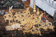 The ramayana painting in public temple in thailand Royalty Free Stock Photos