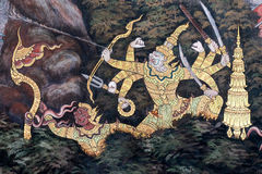 The ramayana painting in public temple in thailand Stock Photography