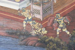 The ramayana painting in public temple in thailand Royalty Free Stock Images