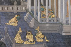 The ramayana painting in public temple in thailand Stock Photo