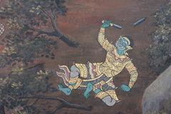 The ramayana painting in public temple in thailand Stock Image