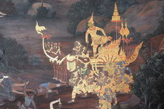 The ramayana painting in public temple in thailand Royalty Free Stock Photography
