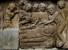 Ramayana Relief stove carves or nandisvara on Prambana Temple. This carves is about war between Rama and Ravana or Rahwana. It's a folklore about Ramayana Stock Photo