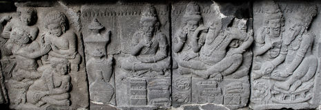Ramayana Relief stove carves or nandisvara on Prambana Temple. This carves is about war between Rama and Ravana or Rahwana. It's a folklore about Ramayana Royalty Free Stock Photo