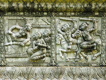 Ramayana statue on wall of fence Royalty Free Stock Image