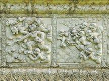 Ramayana staty på väggen av staket Royaltyfri Fotografi