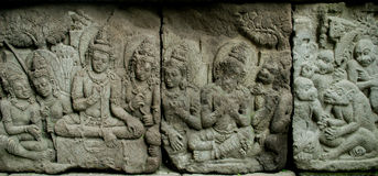 Ramayana Story relief on Prambana Temple Stock Photos