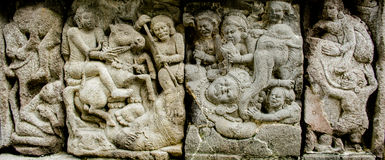 Ramayana Story relief on Prambana Temple Stock Image