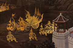 Ramayana on the wall. Buddhist temple royalty free stock photos