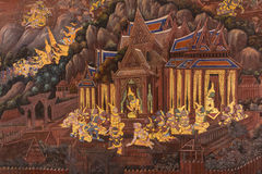 Ramayana on the wall. Buddhist temple Stock Photos