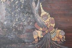 Ramayanaen som offentligt målar templet i Thailand Arkivfoton