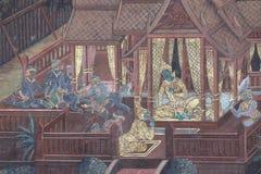 Ramayanaen som offentligt målar templet i Thailand Royaltyfria Bilder