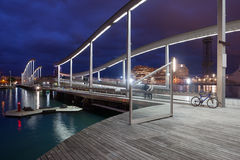 Rambla De Mącący przy nocą w Barcelona Obrazy Royalty Free