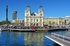Rambla De Mar And Port Vell In Barcelona, Spain Stock Images