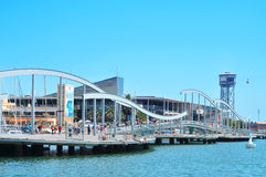 Rambla de Mar and Port Vell in Barcelona, Spain. BARCELONA, SPAIN : Rambla de Mar and Port Vell on  in Barcelona, Spain. The area has a leisure center, shops and Royalty Free Stock Photos