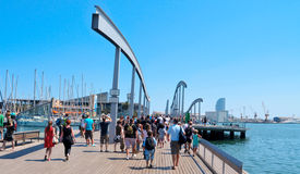 Rambla de Mar and Port Vell in Barcelona, Spain. BARCELONA, SPAIN : Rambla de Mar and Port Vell on August  in Barcelona, Spain. The area has a leisure center Royalty Free Stock Photos
