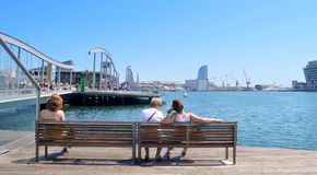 Rambla de Mar and Port Vell in Barcelona, Spain Royalty Free Stock Image