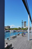 Rambla de Mar and Port Vell in Barcelona, Spain Royalty Free Stock Images