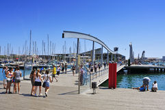 Rambla de Mar and Port Vell in Barcelona, Spain Royalty Free Stock Photography
