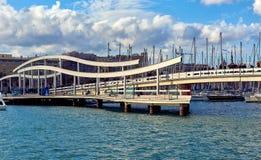 Rambla De mars et port Vell dans la ville de Barcelone Images libres de droits