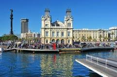 Rambla de marzo e porta Vell a Barcellona, Spagna Immagini Stock