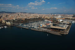 Rambla del Mar, Barcelona panoramic view Royalty Free Stock Photography