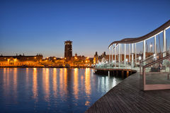 Rambla de Mar Promenade in Barcelona at Night Royalty Free Stock Photo