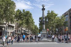 Rambla - a pedestrian street in the center of Barcelona Royalty Free Stock Image