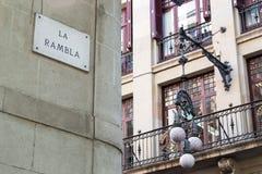 Rambla straat in Barcelona Royalty-vrije Stock Afbeelding