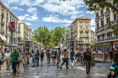 Rambla street in Barcelona, Spain Royalty Free Stock Photos