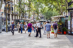 Rambla street in Barcelona, Spain Royalty Free Stock Images