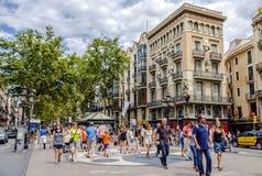 Rambla street in Barcelona, Spain Royalty Free Stock Image