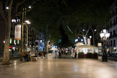 Rambla street in Barcelona, Spain Royalty Free Stock Photography