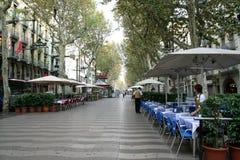 Rambla van Barcelona straat Stock Foto's