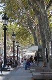 Ramblas, Barcelona. View of Ramblas, Barcelona. People on the street Royalty Free Stock Image