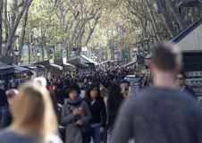 Ramblas of Barcelona full of people walking Royalty Free Stock Photos