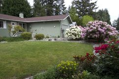Rambler house in Seattle with nice yard Royalty Free Stock Image