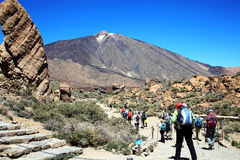 Ramblers hiking at Pico de Teide Stock Images