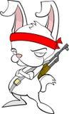 Rambo Rabbit. Cute, though a bit sulky little, white rambo-rabbit sporting an AK47 Stock Photography