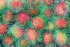 Ramboutan frais organique à vendre au marché de fruit Ramboutan (N Photos libres de droits